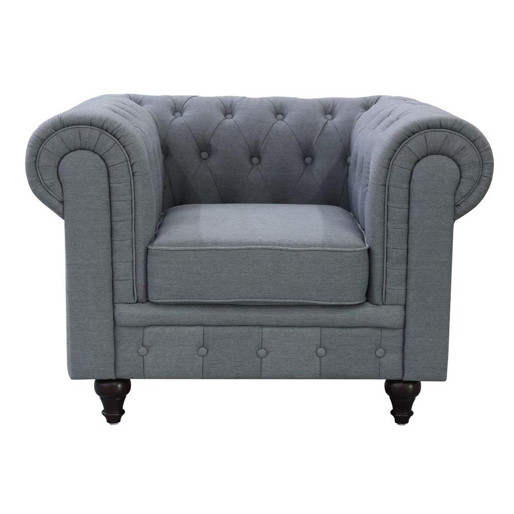Amazing Grace Chesterfield Linen Fabric Upholstered Button Tufted Chair, Grey
