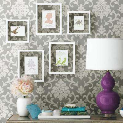 28.18 sq. ft. Grey Damask Peel and Stick Wallpaper