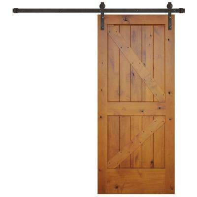 36 in. x 84 in. Rustic Prefinished 2-Panel Right Knotty Alder Wood Barn Door with Bronze Sliding Door Hardware kit