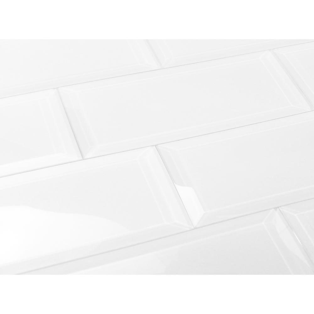 Frosted Elegance Isabelle White 3 in. x 12 in. Glass Peel