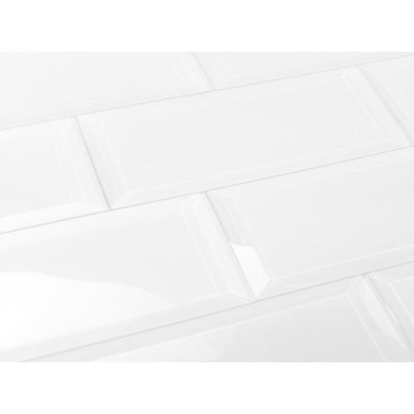 ABOLOS Subway 3 in. x 12 in. Rectangle White Beveled Glossy