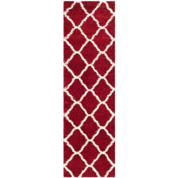 Hudson Shag Red/Ivory 2 ft. x 8 ft. Runner Rug