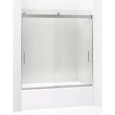 Levity 59.625 in. W x 62 in. H Frameless Sliding Shower Door in Bright Polished Silver