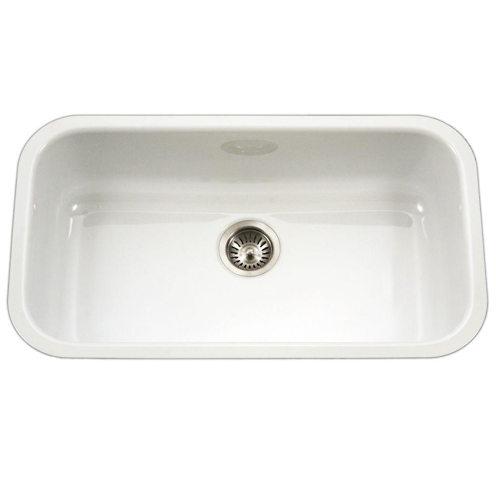HOUZER Porcela Series Undermount Porcelain Enamel Steel 31 In. Large Single  Bowl Kitchen Sink In White PCG 3600 WH   The Home Depot
