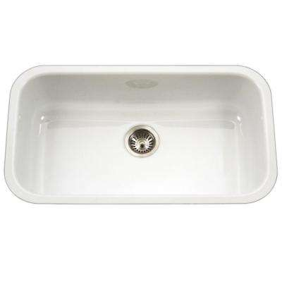 Porcela Series Undermount Porcelain Enamel Steel 31 in. Large Single Bowl Kitchen Sink in White