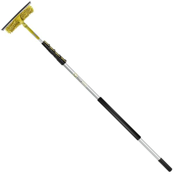 7 ft. - 30 ft. Extension Pole + 11'' Dual Pivot Squeegee Scrubber Combo with Handle - Includes 3-Sizes of Squeegee Blades