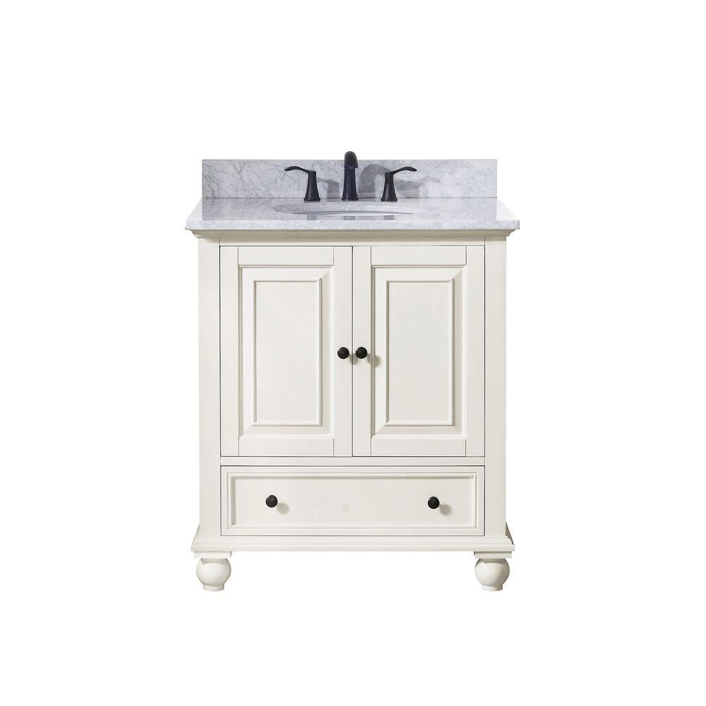 Avanity Thompson 31 in. W x 22 in. D x 35 in. H Vanity in French White with Marble Vanity Top in Carrera White with Basin