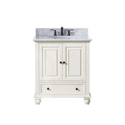 Thompson 31 in. W x 22 in. D x 35 in. H Vanity in French White with Marble Vanity Top in Carrera White with Basin