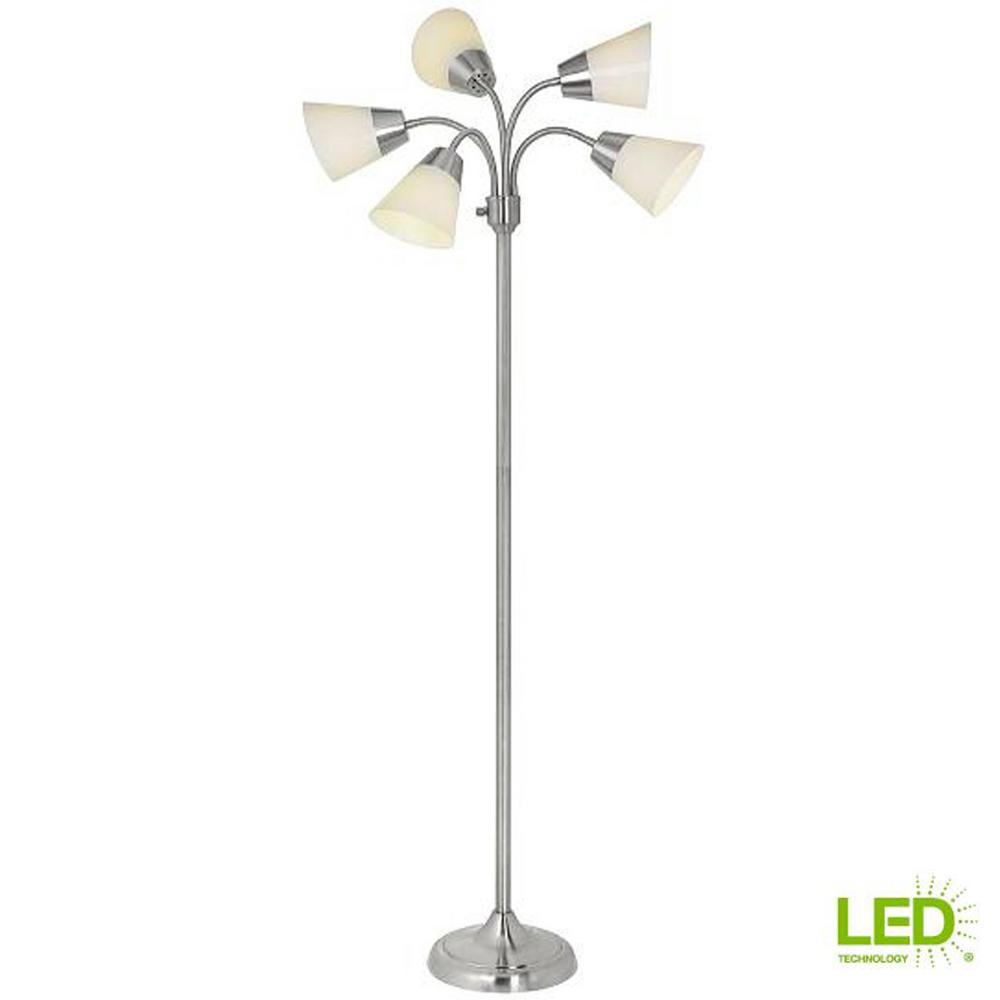 Title 20 66 in. H Brushed Nickel 5-Head Integrated LED Floor