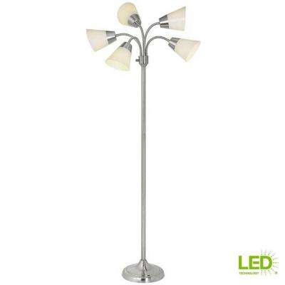 Title 20 66 in. H Brushed Nickel 5-Head Integrated LED Floor Lamp