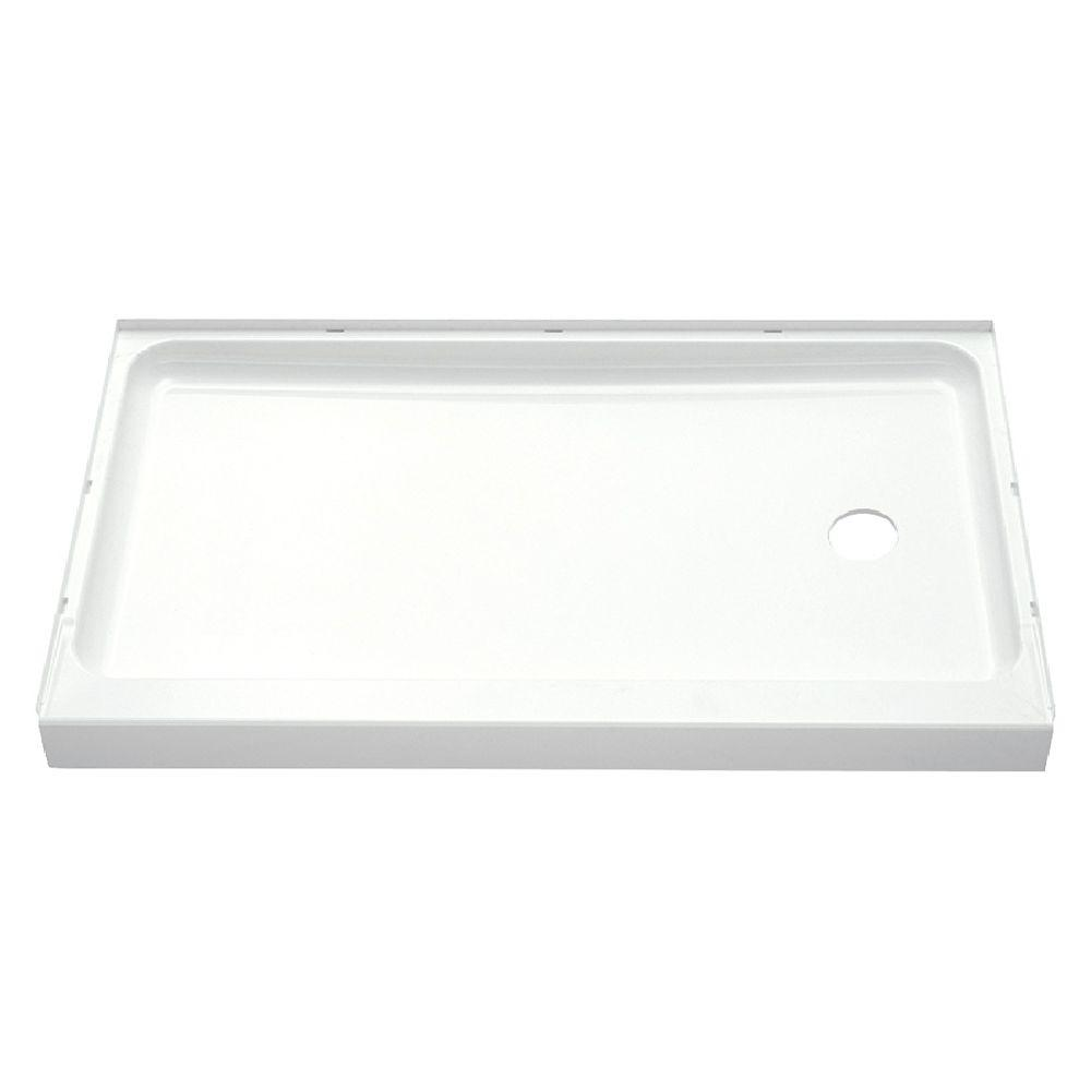 STERLING Ensemble 60 in. x 30 in. Single Threshold Shower Base with Right-Hand Drain in White