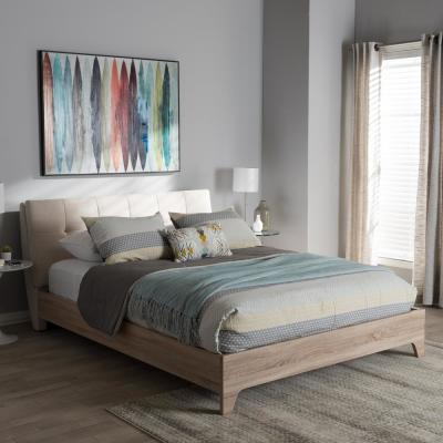 Adelia Mid-Century Beige Fabric Upholstered Queen Size Bed