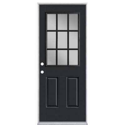 32 in. x 80 in. 9 Lite Jet Black Right-Hand Inswing Painted Smooth Fiberglass Prehung Front Door with No Brickmold