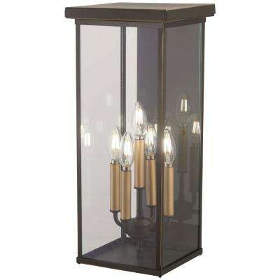 Casway 5-Light Oil Rubbed Bronze with Gold Highlights Outdoor Wall Mount Lantern