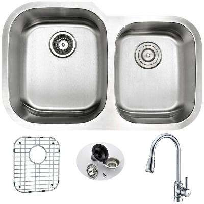 MOORE Undermount Stainless Steel 32 in. Double Bowl Kitchen Sink and Faucet Set with Sails Faucet in Brushed Satin