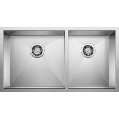 QUATRUS R0 Undermount Stainless Steel 33 in. 60/40 Double Bowl Kitchen Sink