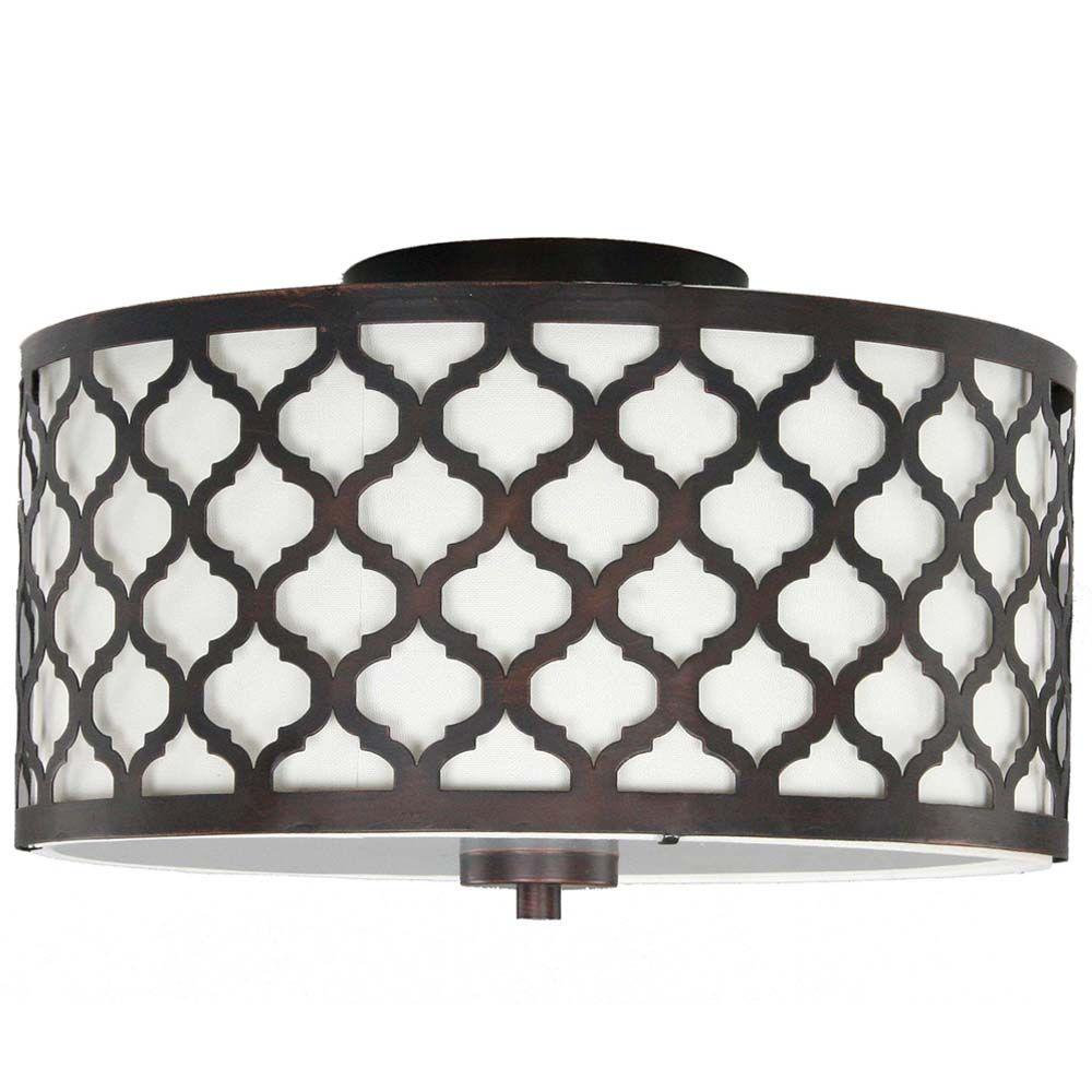 Hampton Bay 15 in. 2-Light Oil-Rubbed Bronze Semi-Flushmount with ...
