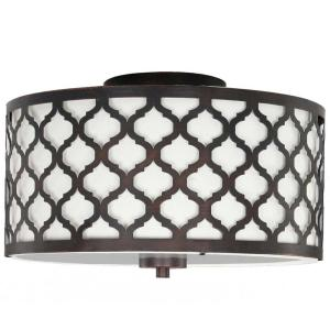 Hampton Bay Edgemoor 13 In 2 Light Oil Rubbed Bronze Semi