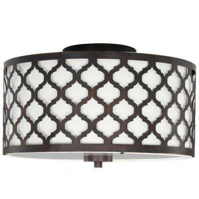 Edgemoor 13 in. 2-Light Oil-Rubbed Bronze Semi-Flushmount with Fabric and Laser Cut Drum Shade
