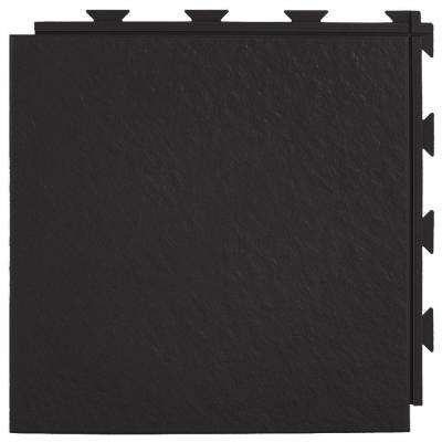 Hiddenlock Slate Top Black 12 in. x 12 in. x 1/4 in. PVC Plastic Interlocking Basement Floor Tile (Case of 20)