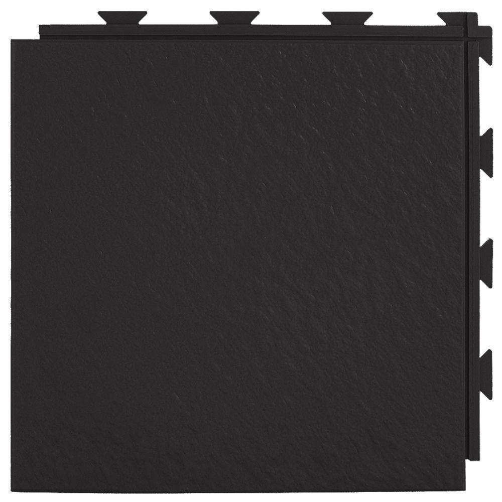 Hiddenlock Slate Top Black 12 in. x 12 in. x 1/4 in. PVC Plastic Interlocking Basement Floor Tile (Case of 20)