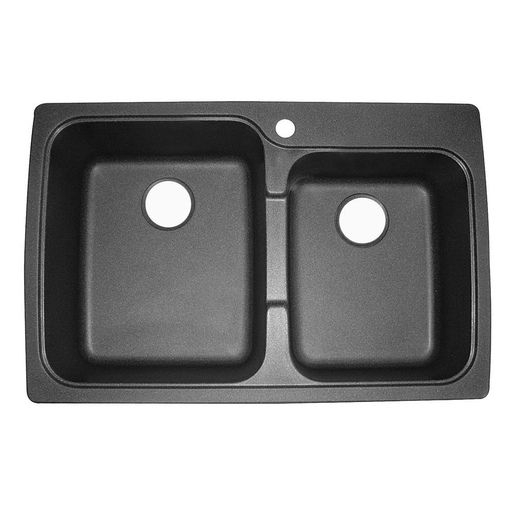 Astracast Offset Dual Mount Granite 33 in. 1-Hole Double Basin Kitchen Sink in Metallic Black