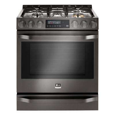 30 in. 6.3 cu. ft. Gas Range with Self-Cleaning Oven in Black Stainless Steel