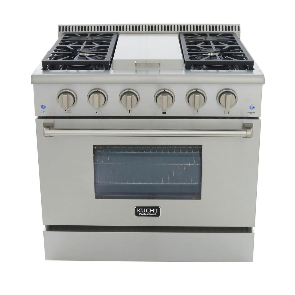 Kucht Pro-Style 36 in. 5.2 cu. ft. Propane Gas Range with Sealed Burners,  Griddle and Convection Oven in Stainless Steel