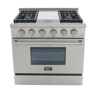 Pro-Style 36 in. 5.2 cu. ft. Propane Gas Range with Sealed Burners, Griddle and Convection Oven in Stainless Steel