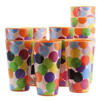 Party Circles 20 oz. Orange Melamine Tumbler (Set of 12)