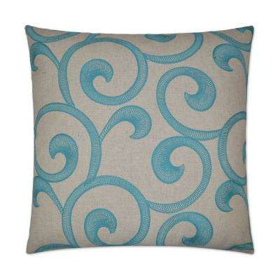 Hampton Scroll Feather Down 24 in. x 24 in. Standard Decorative Throw Pillow