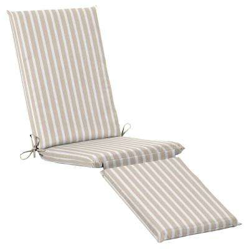 19 x 44.5 Sunbrella Shore Linen Outdoor Chaise Lounge Cushion