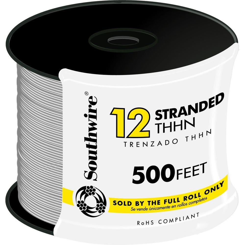 Southwire 500 ft. 12-Gauge White Stranded CU THHN Wire-22965858 ...