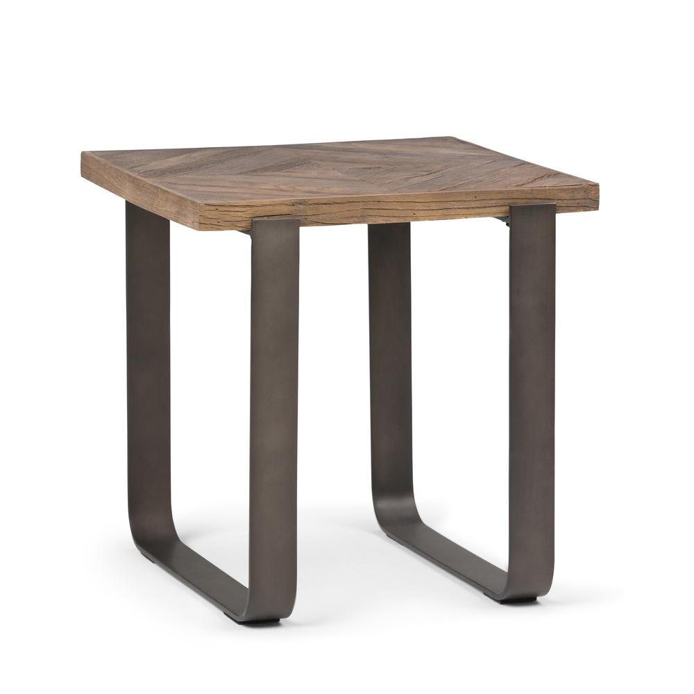 Simpli Home Peyton Distressed Java Brown Wood Inlay End Side Table