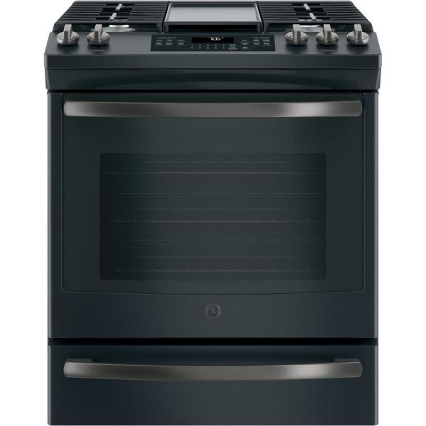 GE 5.6 cu. ft. Slide-In Gas Range with Self-Cleaning Convection Oven in Black Slate, Fingerprint Resistant