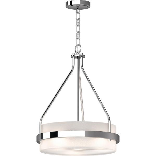 Emery 3-Light Chrome Indoor Mini Hanging Chandelier with Frosted Glass Drum