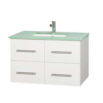 Centra 36 in. Vanity in White with Glass Vanity Top in Green and Undermount Square Sink