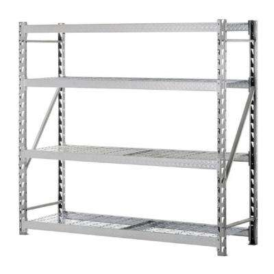 72 in. H x 77 in. W x 24 in. D 4-Shelf Steel Treadplate Commercial Shelving Unit in Silver