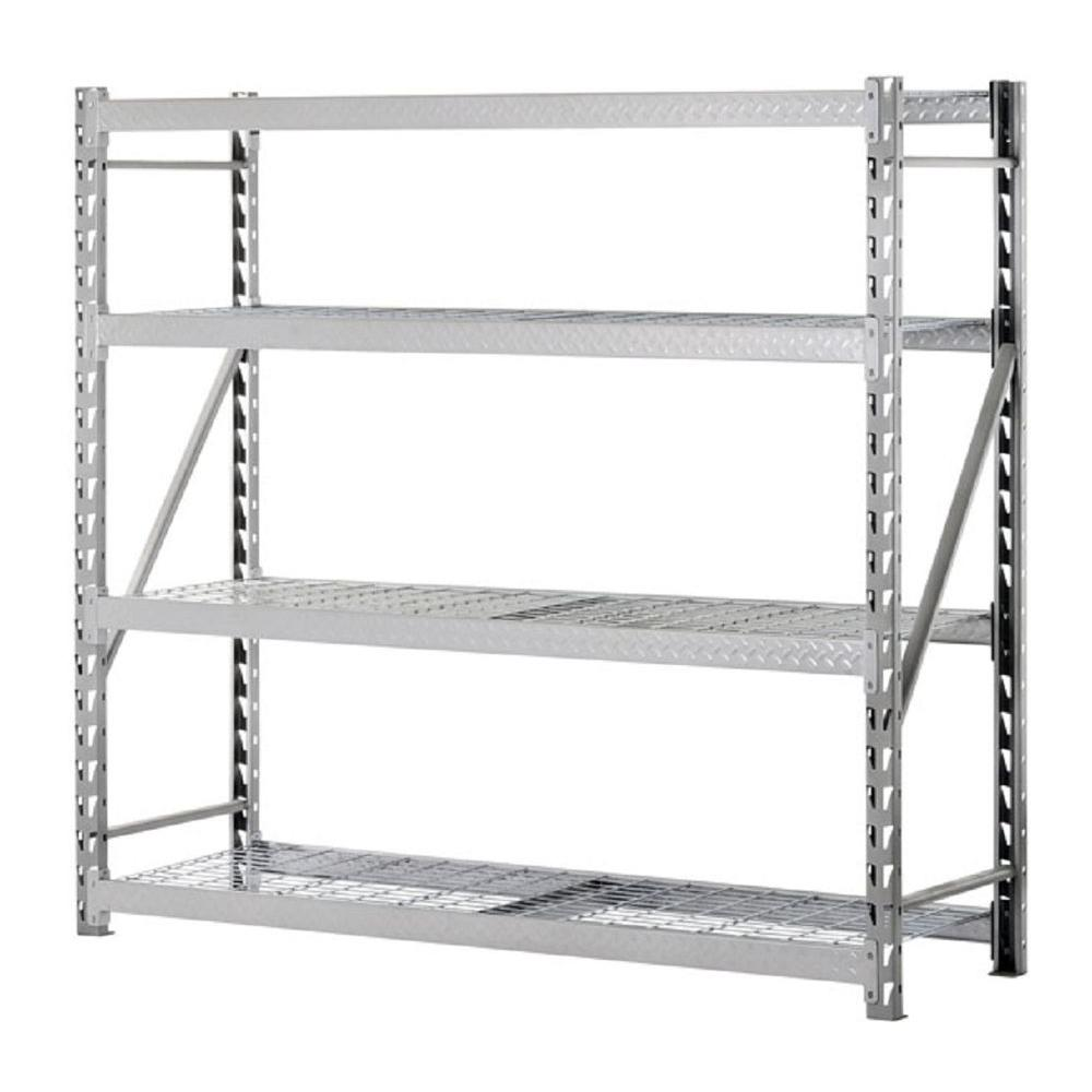Sandusky 72 in. H x 77 in. W x 24 in. D 4-Shelf Steel Treadplate Commercial Shelving Unit in Silver