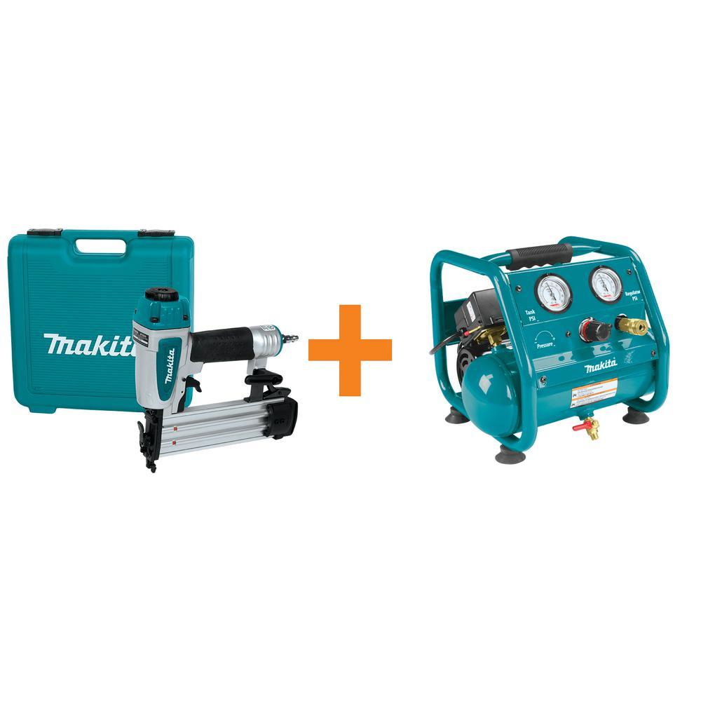 Makita 2 in. x 18-Gauge Brad Nailer and 1 Gal. 125 psi Portable Electric Compact Air Compressor