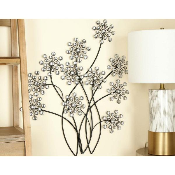 Litton Lane 24 in. x 31 in. Glitz-Inspired Iron Floral Branches