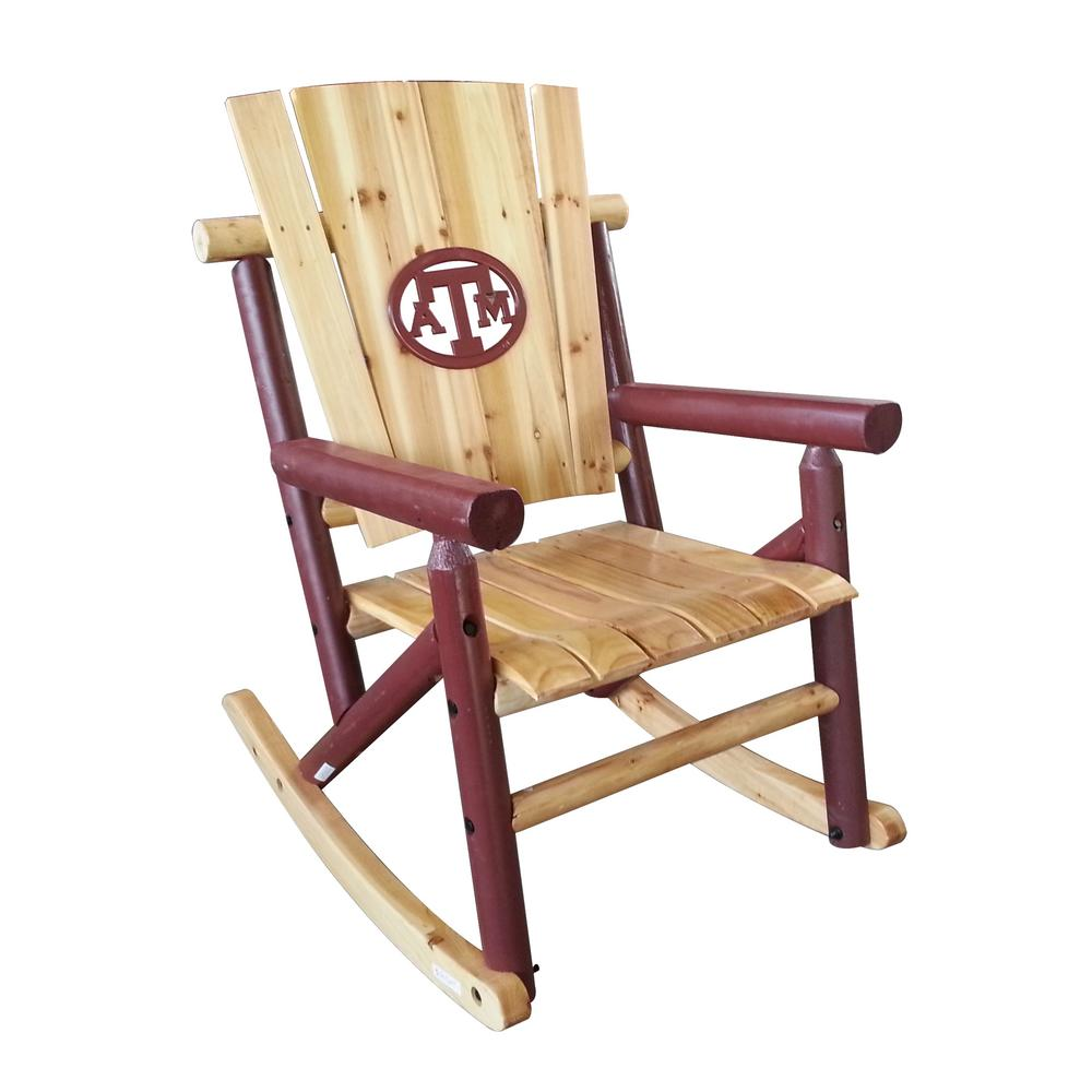 Aspen Wood Patio Outdoor Rocking Chair With TX A and M