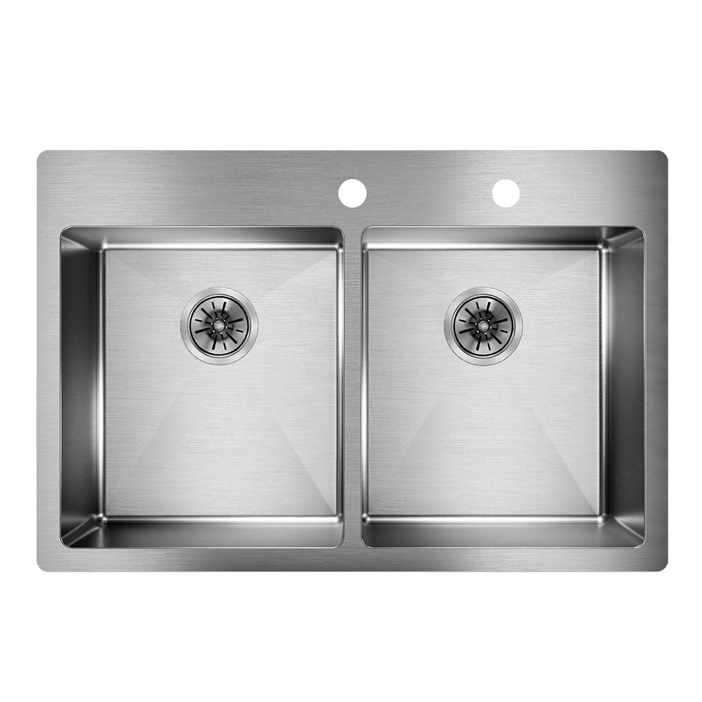Elkay Crosstown Drop In/Undermount Stainless Steel 33 In. Double Bowl  Kitchen Sink
