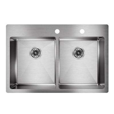 Crosstown Drop-In/Undermount Stainless Steel 33 in. Double Bowl Kitchen Sink