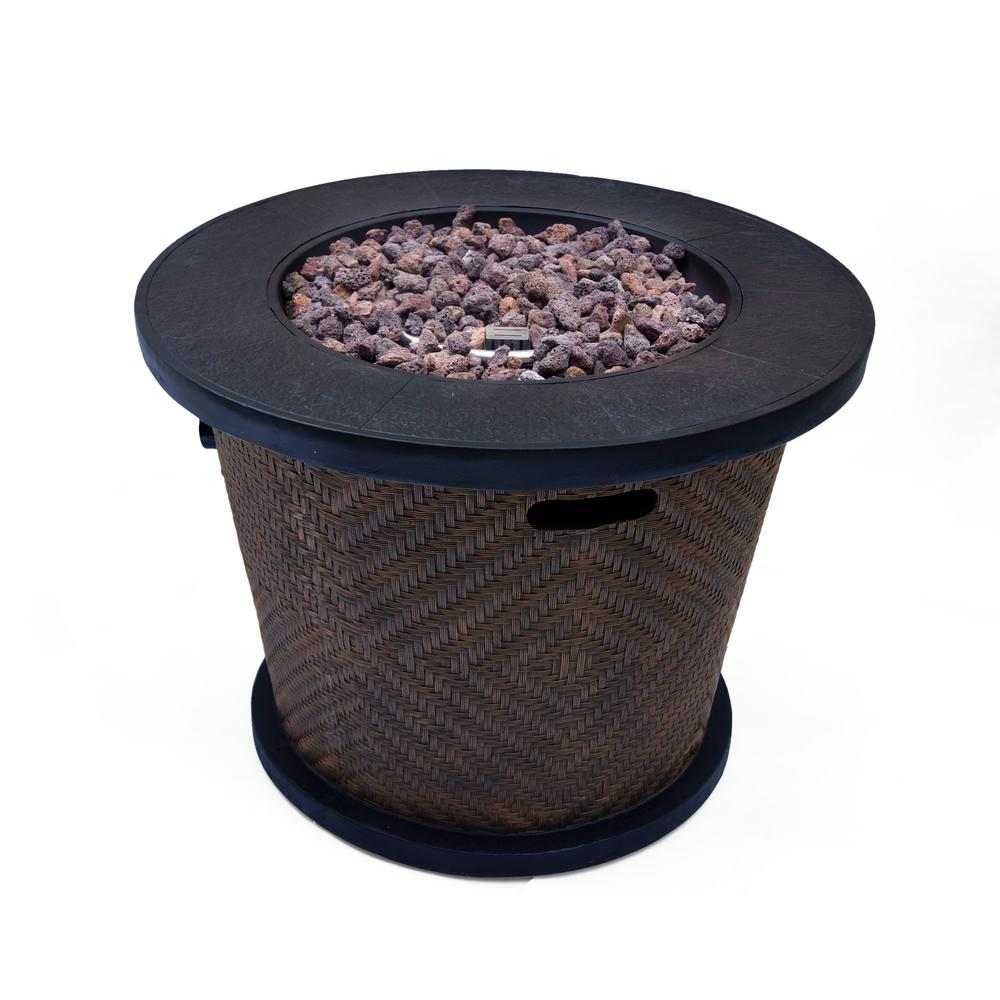Noble House Payton 32 in. x 24 in. Circular Concrete Propane Fire Pit in Brown