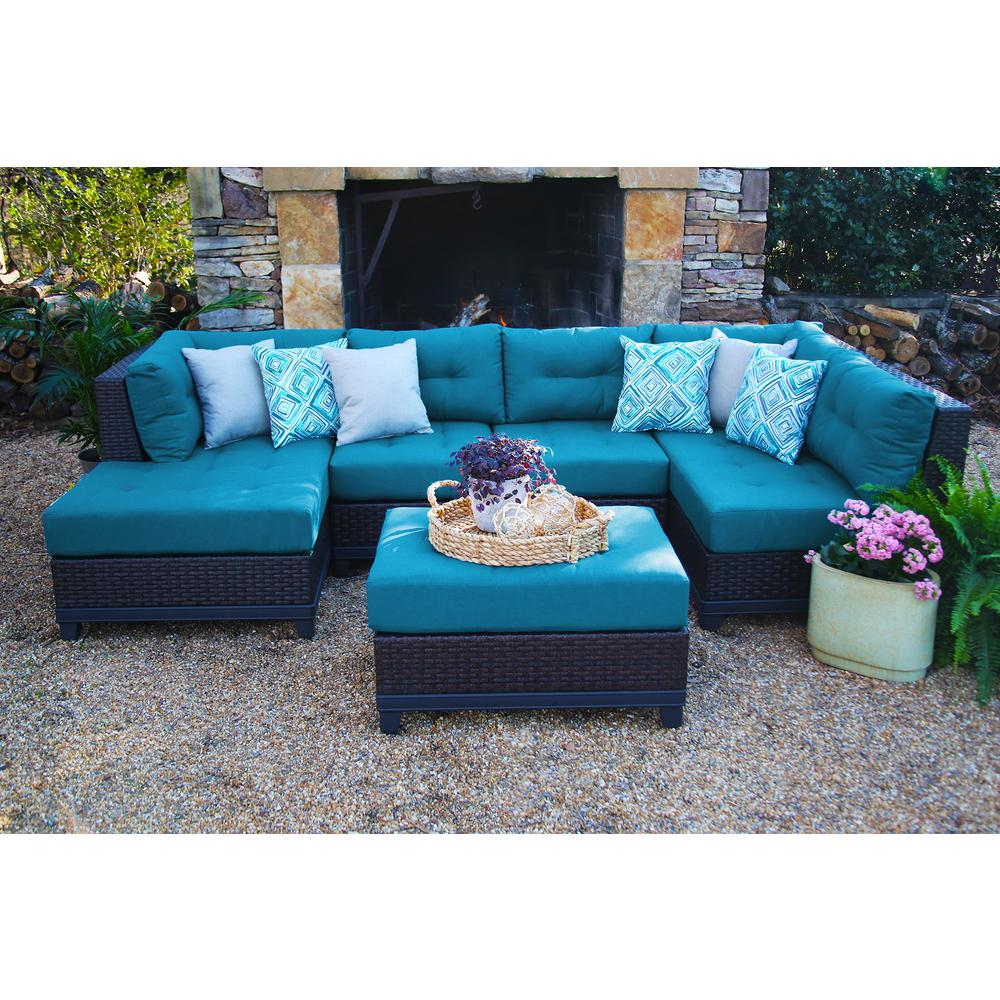 ae outdoor hillborough blue 4 piece all weather wicker outdoor sectional with sunbrella cushions. Black Bedroom Furniture Sets. Home Design Ideas