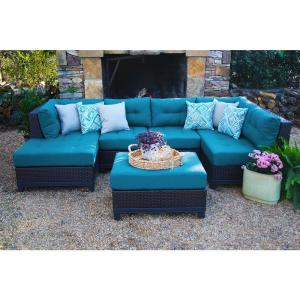 AE Outdoor Hillborough Blue 4-Piece All-Weather Wicker Outdoor Sectional with Sunbrella Cushions by AE Outdoor