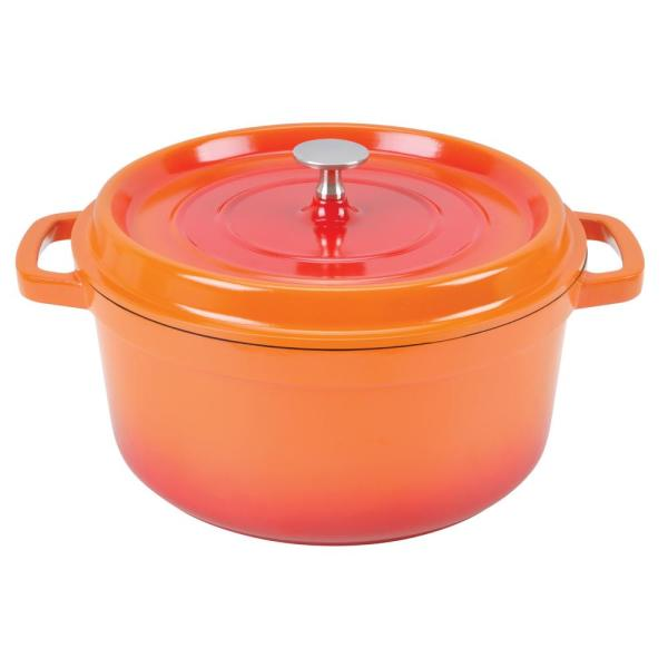 Paderno World Cuisine 4.75 Qt. Orange Round Aluminum Dutch Oven A1760024