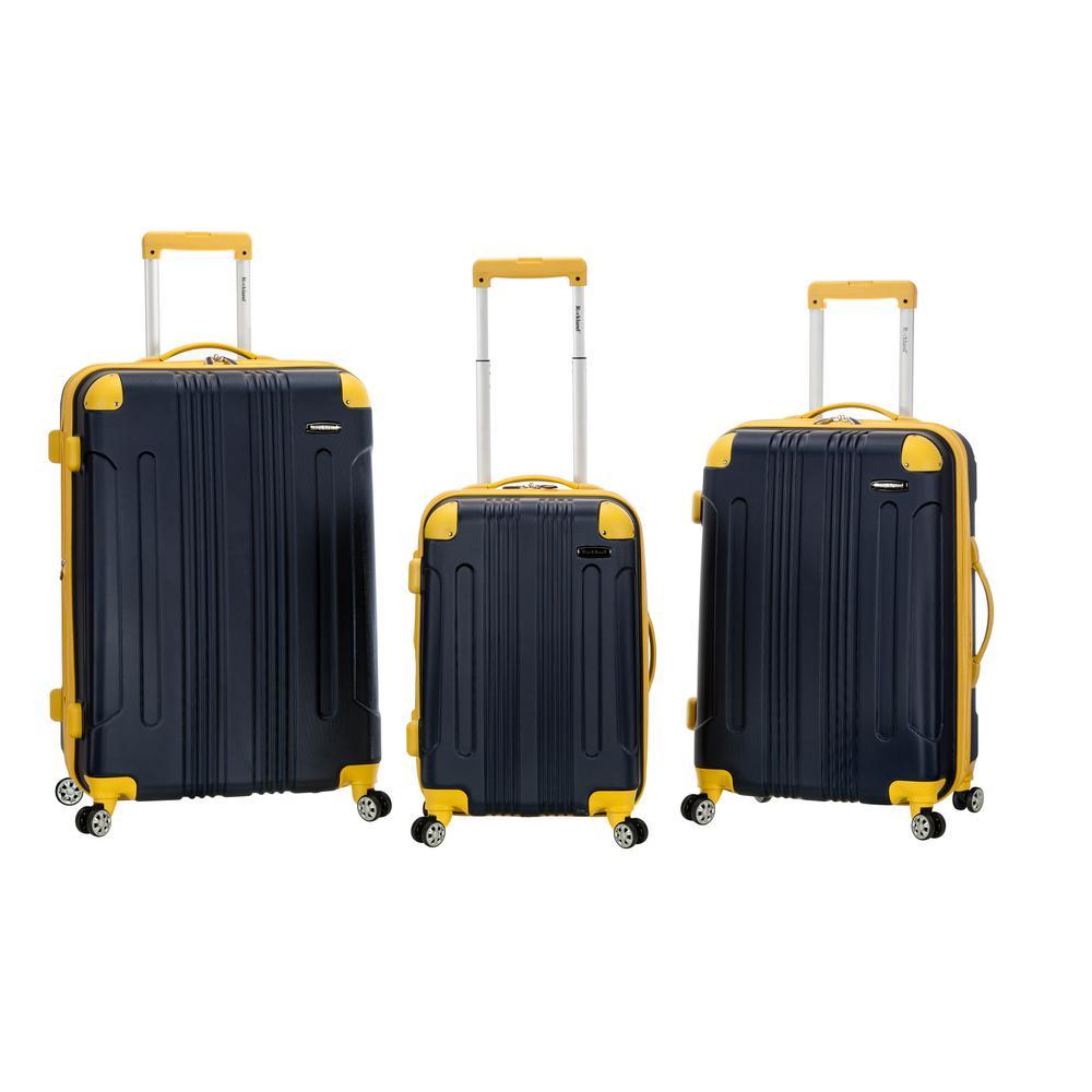 Rockland Sonic 3-Piece Hardside Spinner Luggage Set, Navy