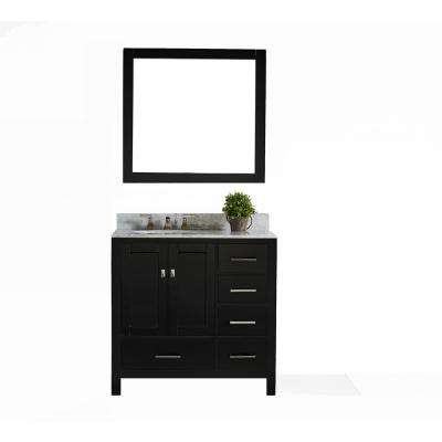 San Clemente 36 in. Vanity in Espresso with Italian Carrara Marble Vanity Top in White with White Basin and Mirror